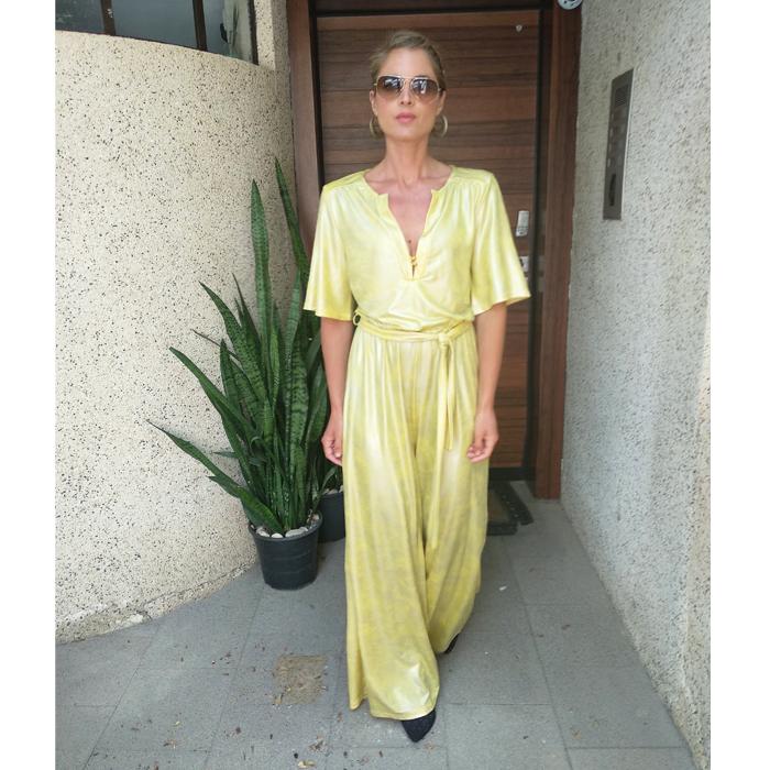 אוברול סאשה לייקרה מבריק צהוב