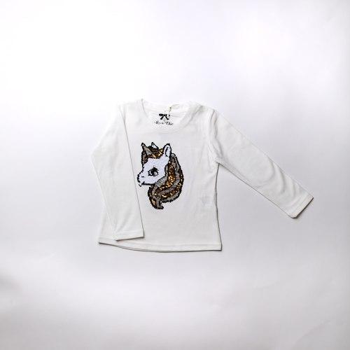 חולצת בנות לייקרה חד קרן ורוד לבנה