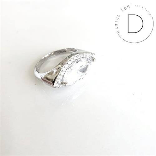 טבעת מרקיזה כסף 925- שקוף