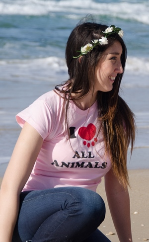 חולצת נשים ורודה/לבנה- I LOVE ALL ANIMALS