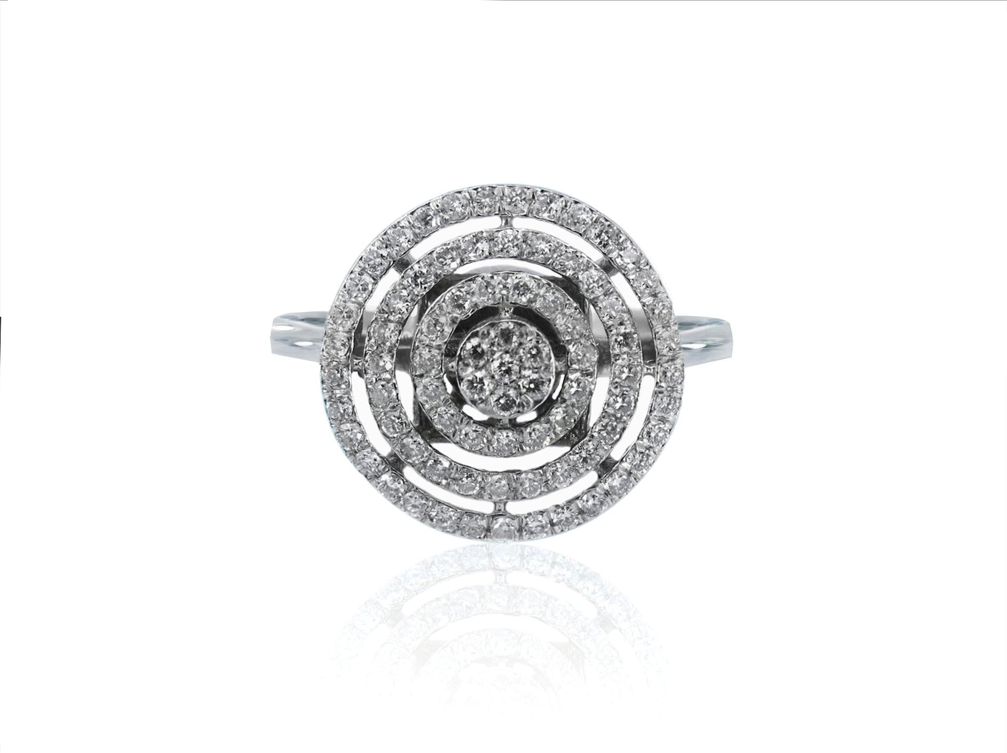 טבעת זהב 14 קרט משובצת יהלומים 0.65 קראט