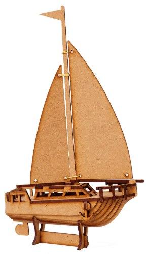 ערכת בנייה בעץ וצביעה - סירת מפרש