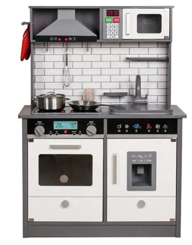 SPTY493B - מטבח עץ לילדים בצבע אפור - קפיץ קפוץ