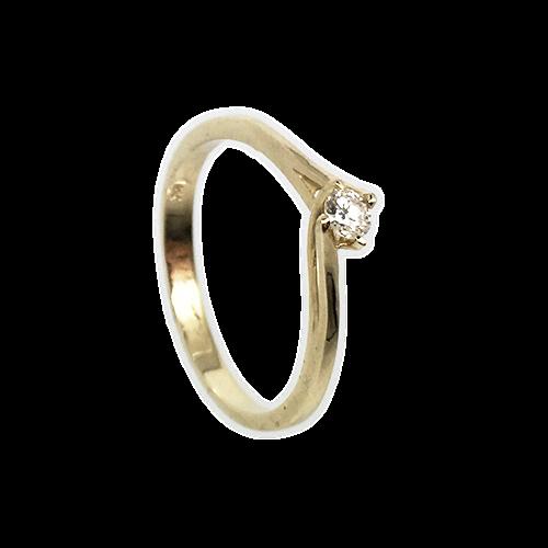 טבעת אירוסין זהב צהוב 14K יהלום מרכזי OP09160049408