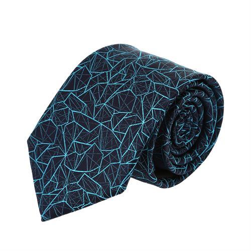 עניבה דגם גאומטרי כחול טורקיז