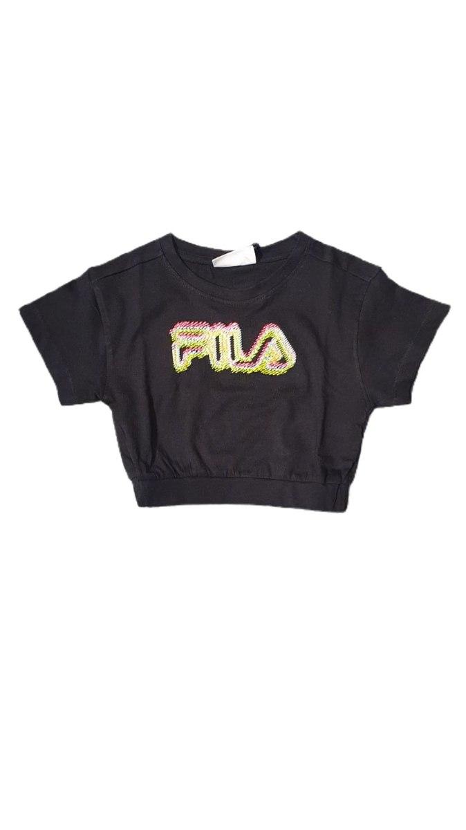 חולצת בטן שחור רקום (FILA (4-16