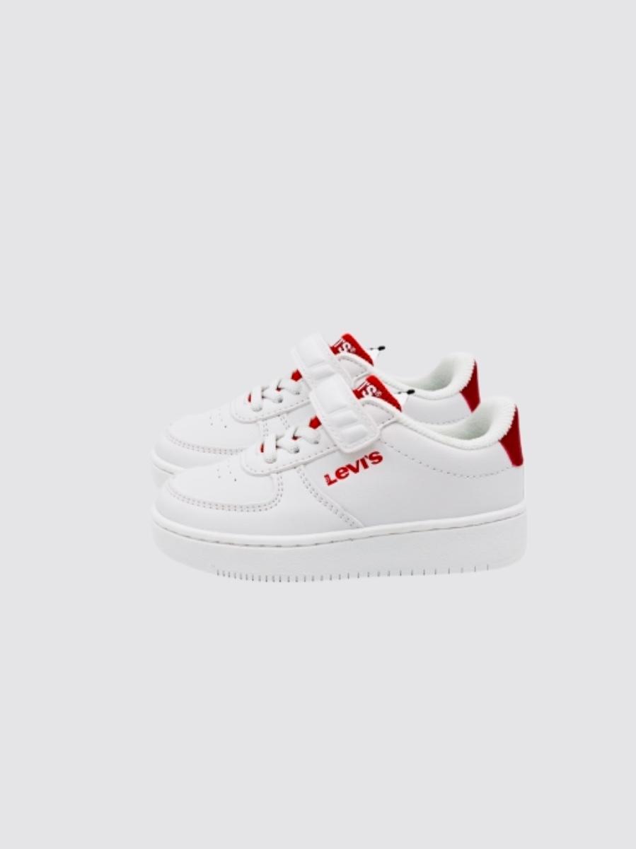 LEVIS נעל סניקרס לבנה לוגו אדום מידות 24-29