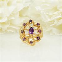 טבעת אמטיסט יפהפיה בזהב 14 קראט