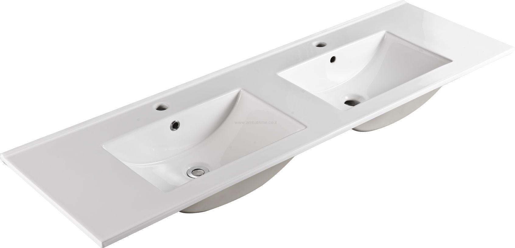 כיור חרס כפול 150-47 לאמבטיה של חברת AMBAT .