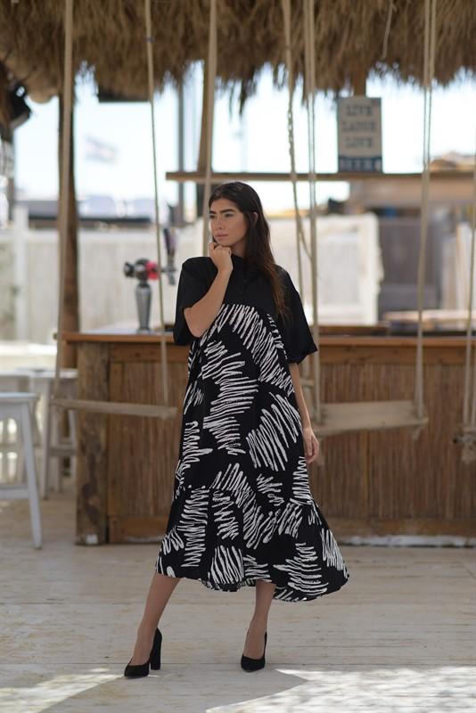 שמלת חצי חצי שחורה OVER SIZE