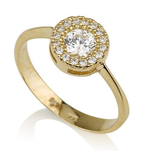טבעת פרח משובצת מזהב 14K