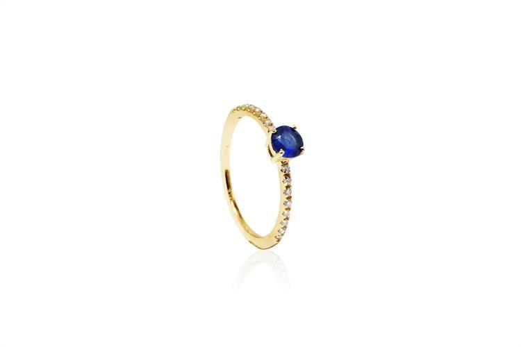 טבעת זהב יהלומים 0.15 קראט ואבן ספיר