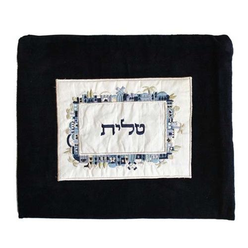 כיסוי לטלית קטיפה + אפליקציה ירושלים - כחול