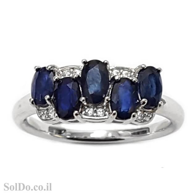 טבעת כסף משובצת אבני ספיר וזרקונים RG1624 | תכשיטי כסף 925 | טבעות כסף