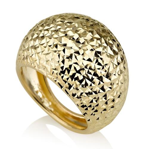 טבעת מזהב 14K בגימור חריטת יהלום