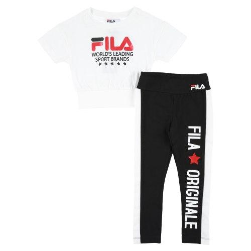 חליפת טייץ וקרופ שחור/לבן FILA בנות - 2-8 שנים