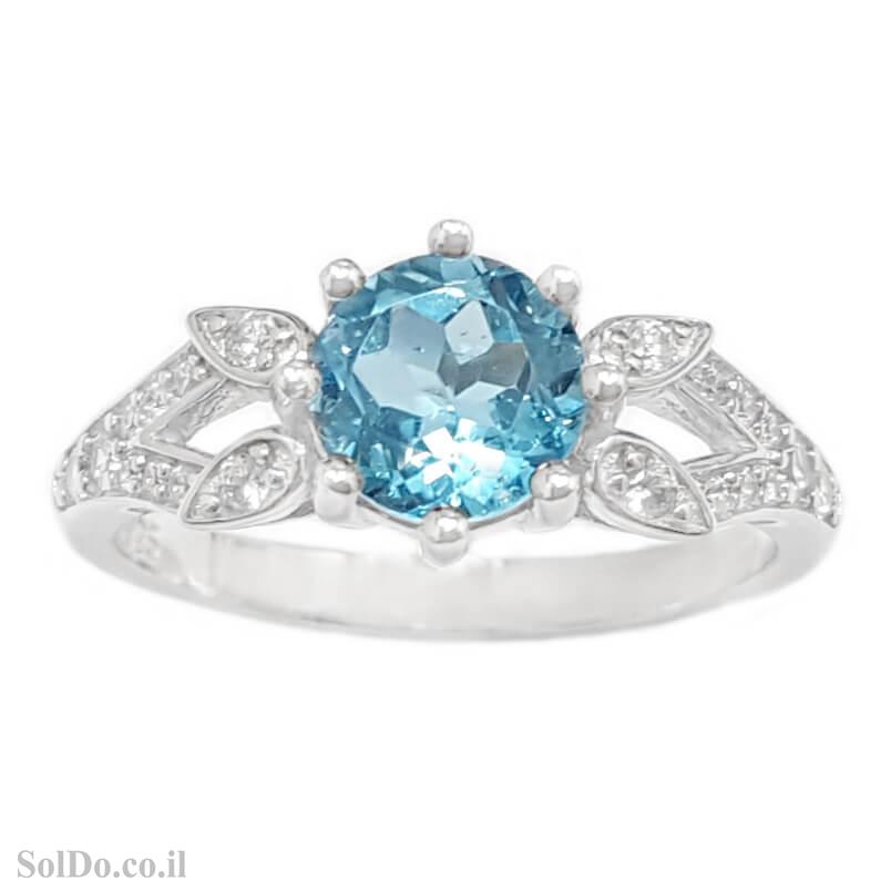 טבעת מכסף משובצת אבן טופז כחולה וזרקונים RG8790 | תכשיטי כסף 925 | טבעות כסף
