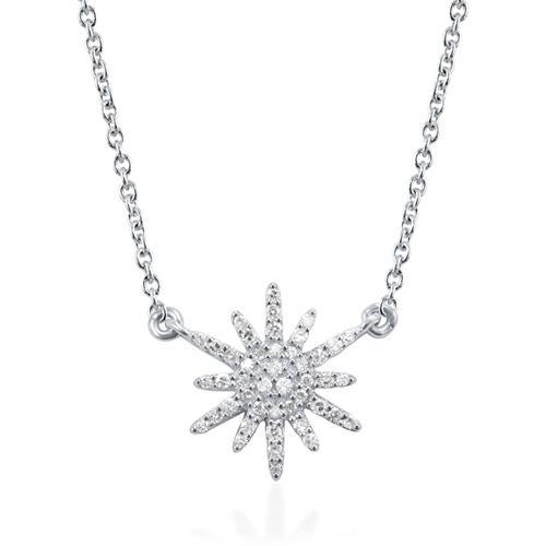 תליון ושרשרת זהב לבן 14 קראט כוכב משובץ יהלומים