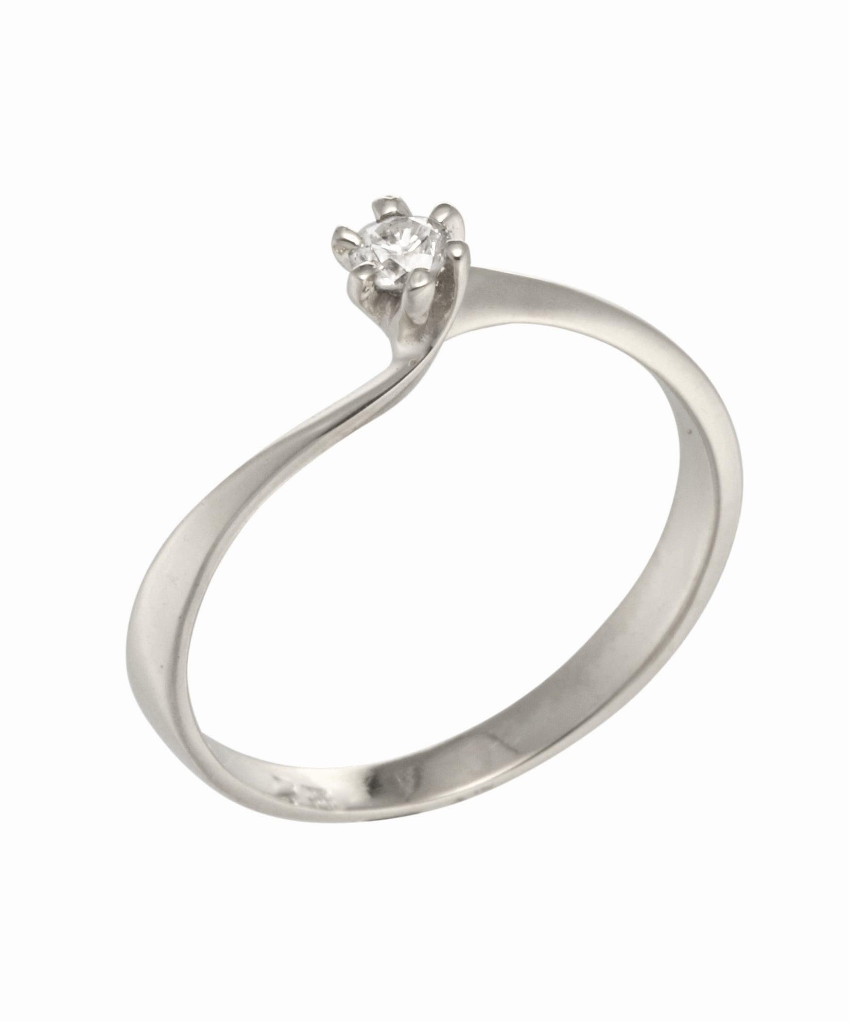 טבעת אירוסין זהב בסגנון טוויסט יהלום 0.08 קראט