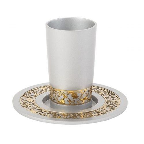 כוס קידוש + עיטור רימונים - כסף
