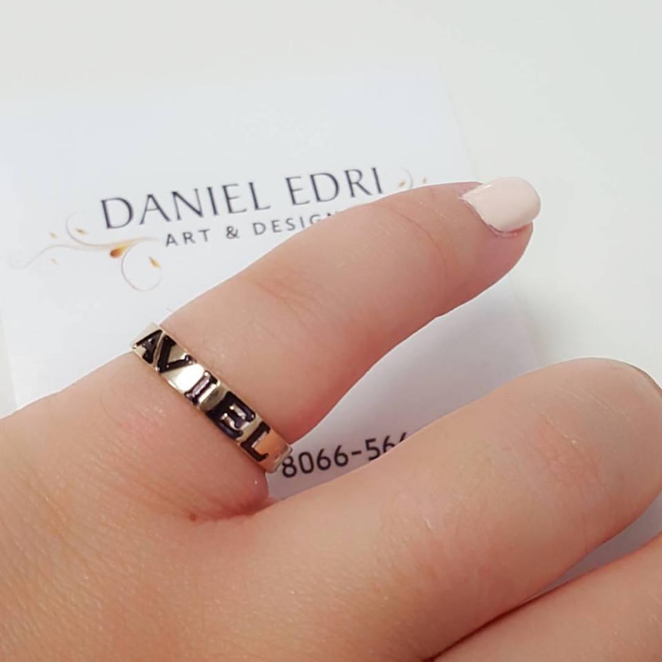 טבעת שחורה חריטה שחורה ואבן