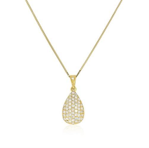 שרשרת יהלומים פאווה בצורת טיפה משובצת יהלומים 0.55 קראט זהב 14 קרט