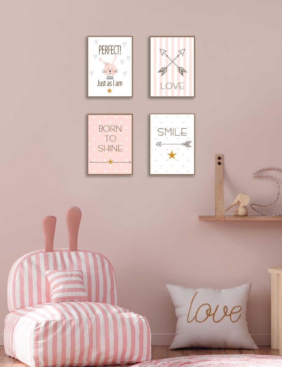 סט של 4 תמונות השראה חדר תינוקות/ ילדה דגם 039