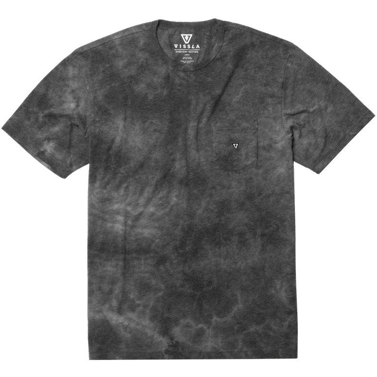 Vissla Calipher Embroidered Tie Dye Tee Black Heather