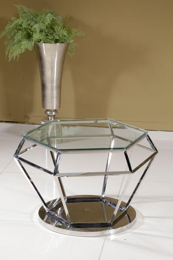 שולחן יהלום זכוכית שקופה נירוסטה ADAGIO NICKEL 80*80*45  מגיע בצבע: Nicke