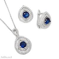 עגילים ותליון מכסף משובצים אבני זרקון כחולות ולבנות S1633