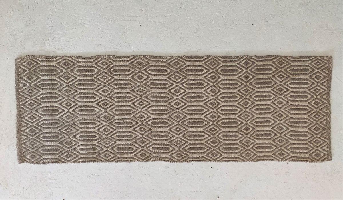 שטיח כותנה מעויינים ארוך - טבעי ואבן
