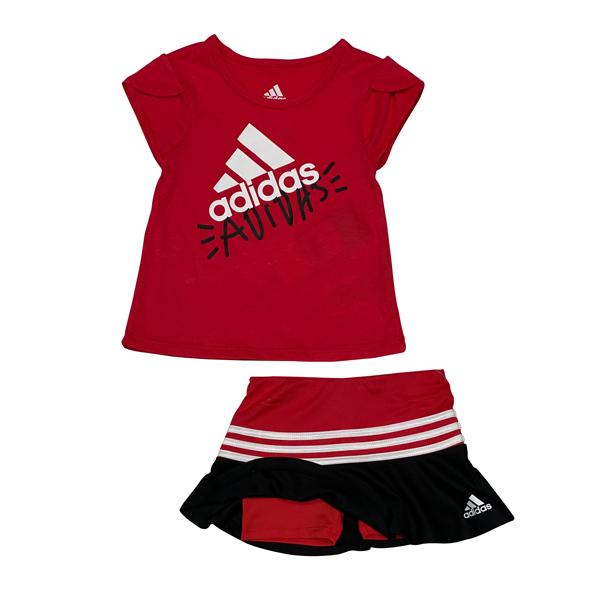 חליפת ספורט ADIDAS - אדום שחור - חצאית משולבת טייץ