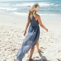 שמלת רומי רשת כחול ים אסימטרית