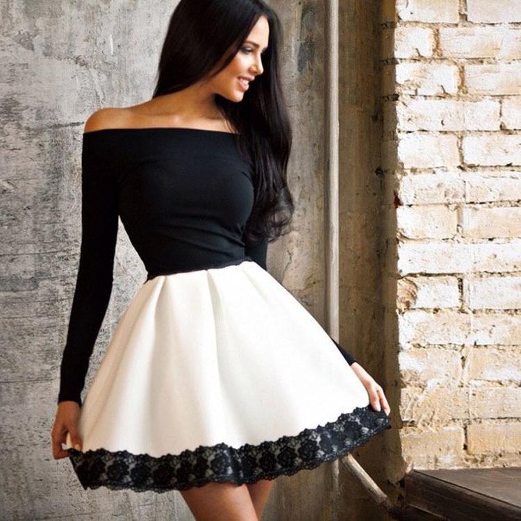 שמלה אופנתית שחור לבן שרוול ארוך