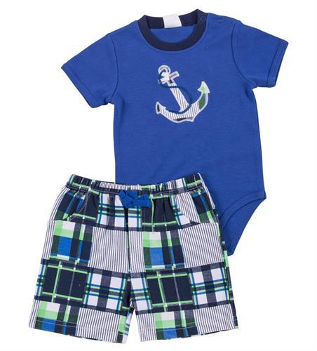חליפת בגד גוף עוגן כחול