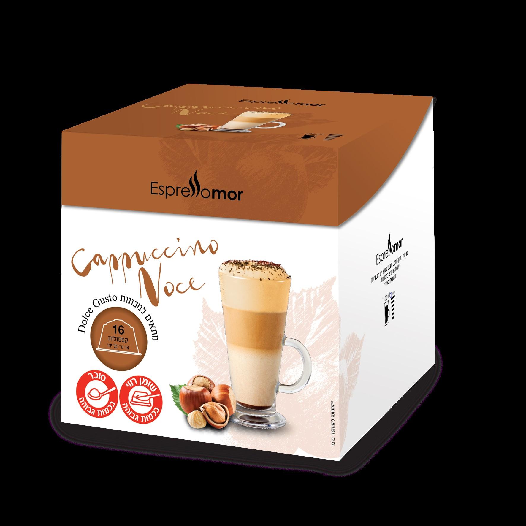 16 קפסולות תואמות דולצה גוסטו קפוצ'ינו אגוז לוז Espressomor Cappuccino Noce