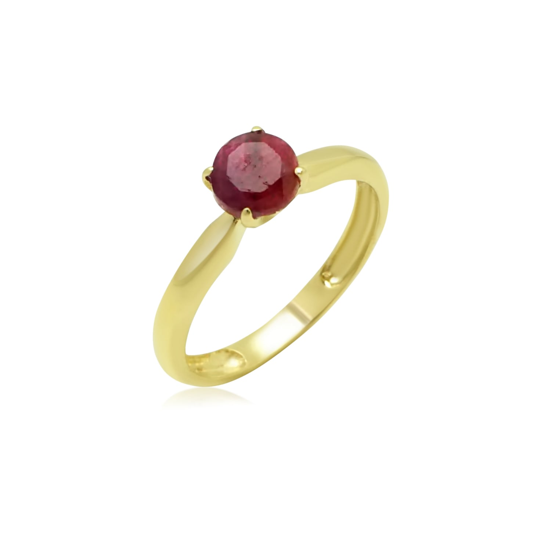 טבעת זהב ואבן חן טבעת קלאסית