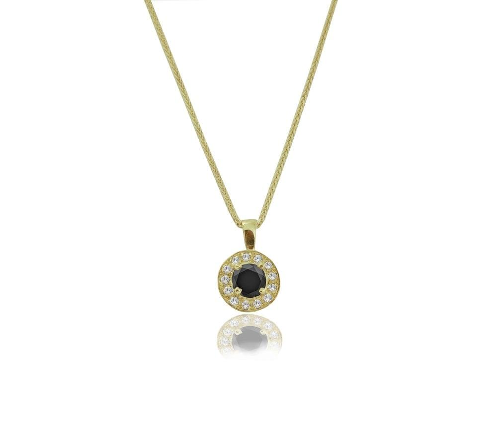 שרשרת ותליון יהלומים 0.62 קראט מזהב 14 קרט| תליון יהלום שחור | תליון יהלומים