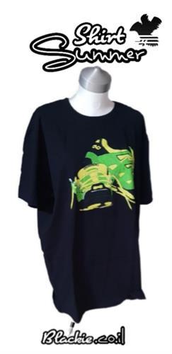 """חולצה שחורה לקיץ הדפס גראפי """"דריכה""""👣"""