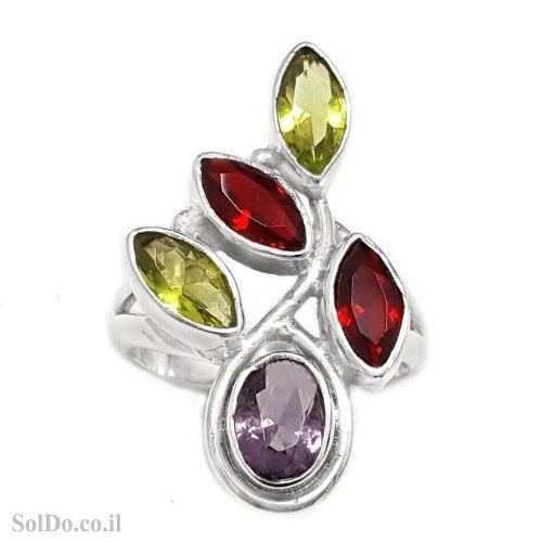 טבעת מכסף משובצת אבני חן RG6275 | תכשיטי כסף 925 | טבעות כסף