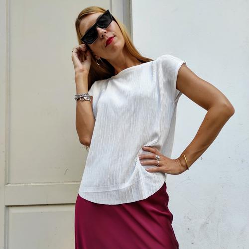 חולצת גופרה - פליסה לבן