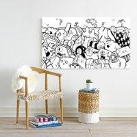 ציור פופ ארט שחור לבן לסלון של האמן כפיר תג'ר