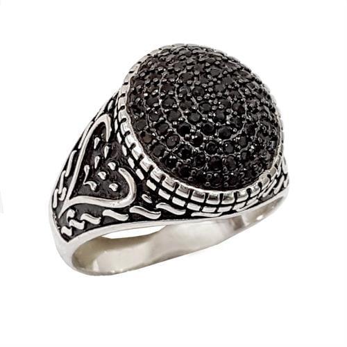 טבעת כסף לגבר משובצת טופז שחור RG9903