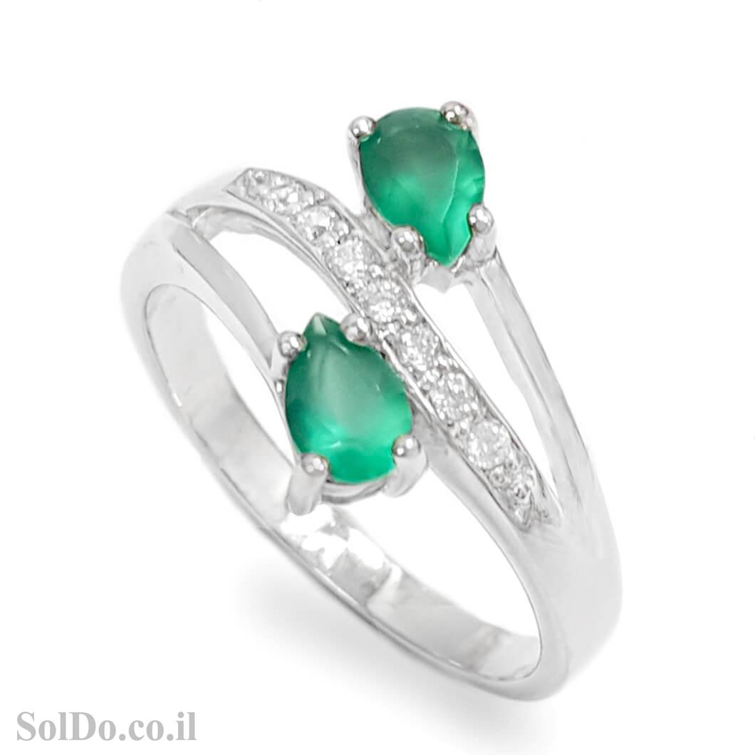 טבעת מכסף משובצת אבני אגת צבע ירוק וזרקונים RG6073 | תכשיטי כסף 925 | טבעות כסף