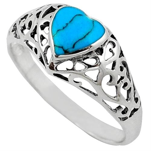 טבעת כסף לב משובצת טורקיז כחול RG1469