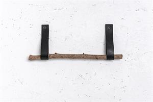 מתלה 2 רצועות עור עם ענף  - שחור