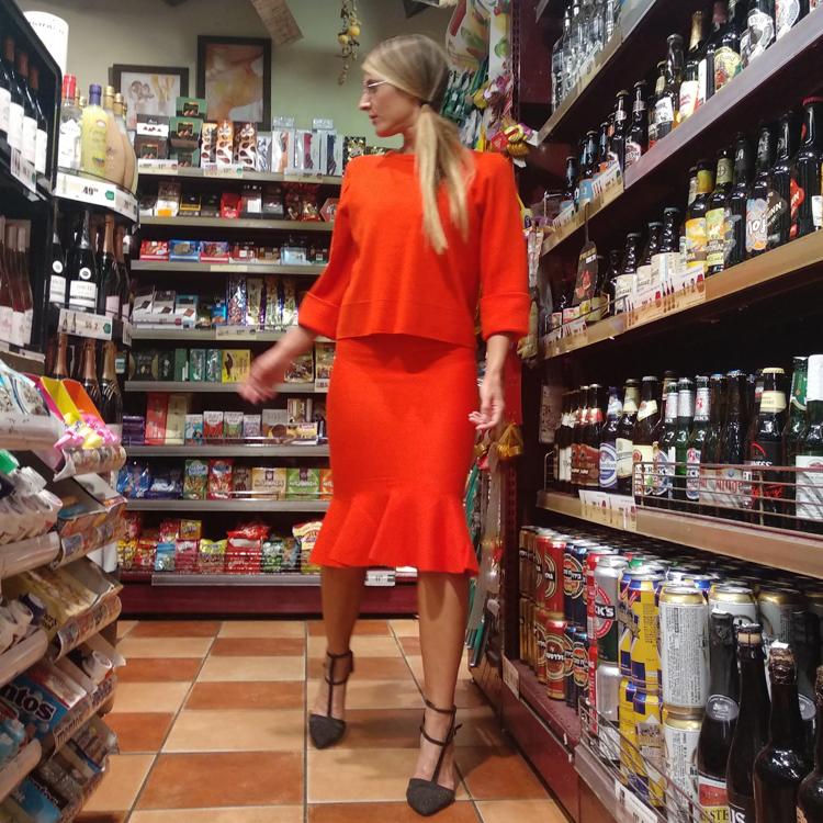 חצאית כארמן כתום/אדום