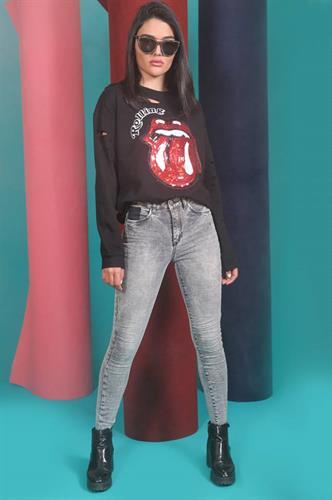מכנס ג'ינס סקיני אפור ANTIGO