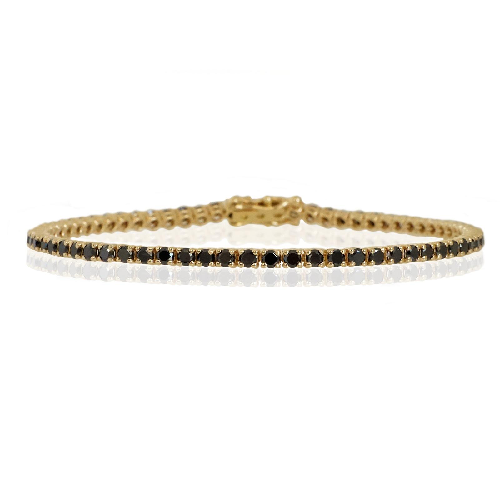 צמיד טניס יהלומים שחורים 3.65 קראט
