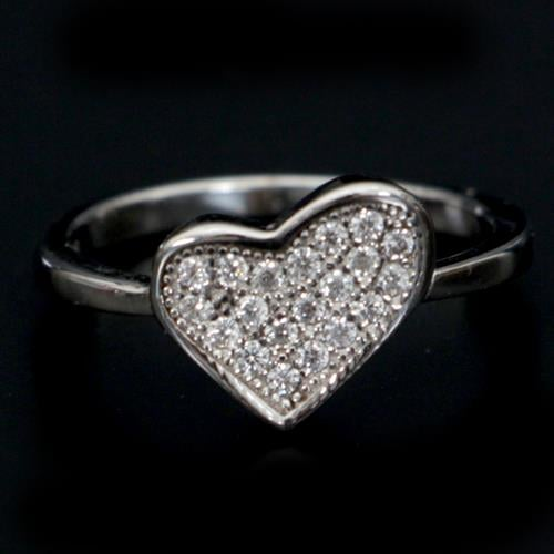 טבעת כסף לב משובצת זרקונים RG1057